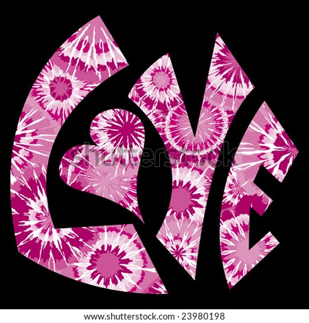 Pink Tie Dyed Love Symbol - stock vector