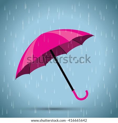 pink umbrella - stock vector