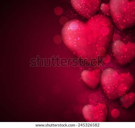 Pink valentine's background with 3d hearts. Vector illustration.  - stock vector