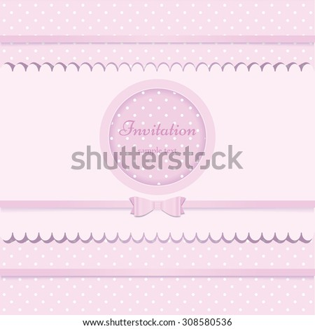 Pink vector card invitation for baby shower or birthday party with white polka dots. Cute background with frame  to put your own text. - stock vector