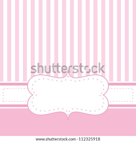 Pink vector card invitation baby shower stock vector 112325918 pink vector card invitation for baby shower wedding or birthday party with white stripes stopboris Images