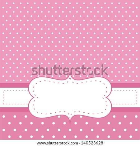 Pink vector invitation card baby shower stock vector 140523628 pink vector invitation card for baby shower wedding or birthday party with white polk dots stopboris Images