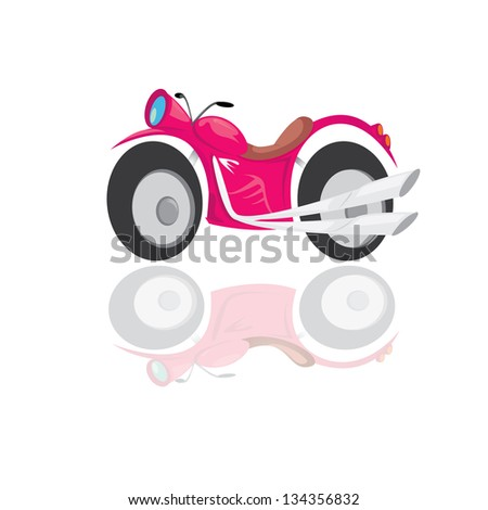 pink vector sport classic motorcycle icon. red bike on white background with reflection. sport motorcycle illustration - stock vector
