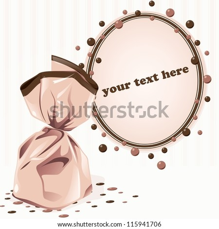 Pink Victorian vintage frame with a truffle (eps10); - stock vector