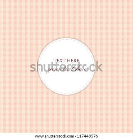 Pink Vintage Card, Plaid Design - stock vector