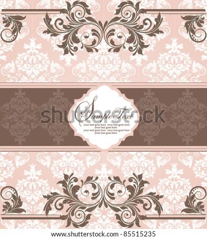 pink vintage damask invitation card - stock vector