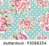 pink vintage rose pattern on green background - stock photo