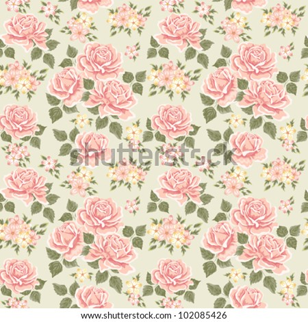 Pink vintage rose pattern. Seamless - stock vector