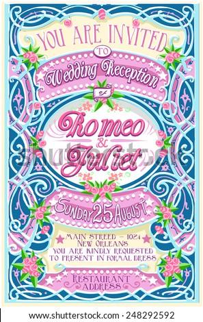 Pink Vintage Wedding Invite.  - stock vector