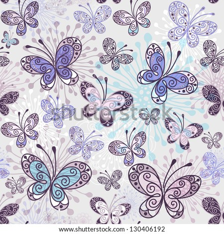 Pink-violet-blue seamless pattern with transparent butterflies (vector EPS 10) - stock vector