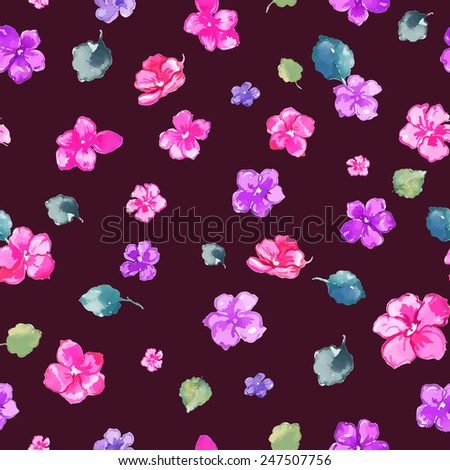 Pink Violets Victorian Seamless Pattern. Copy that square to the side and you'll get seamlessly tiling pattern which gives the resulting image ability to be repeated or tiled without visible seams.  - stock vector