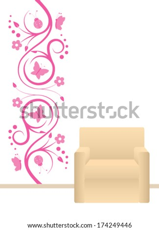 Pink wall sticker for decoration  - stock vector