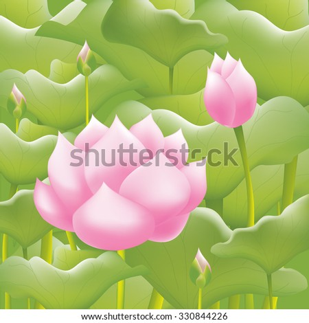 Pink water lilies lotus flower or water lilies background - stock vector