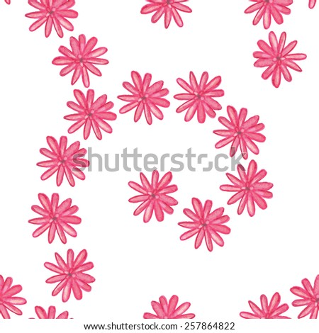 Pink watercolor flowers seamless pattern - vector