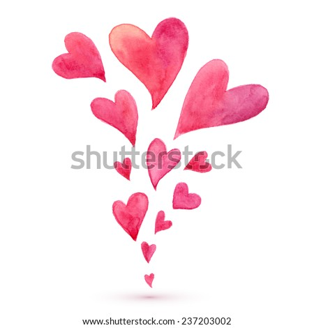 Pink watercolor painted vector flying hearts spring - stock vector