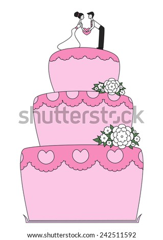 Pink wedding cake with bride and groom. Vector illustration, eps8.