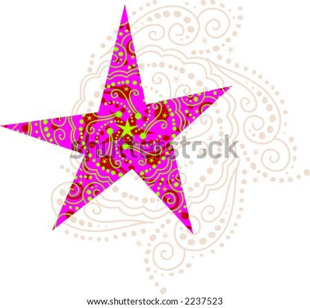 Pink Winter Star - stock vector