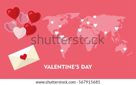 Pink world map hearts tags love stock vector 567915685 shutterstock pink world map with hearts tags and love letter for valentines day vector flat illustration gumiabroncs Images