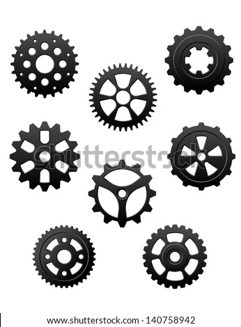 Pinons and gears set for industry or another conceptual. Jpeg (bitmap) version also available in gallery - stock vector