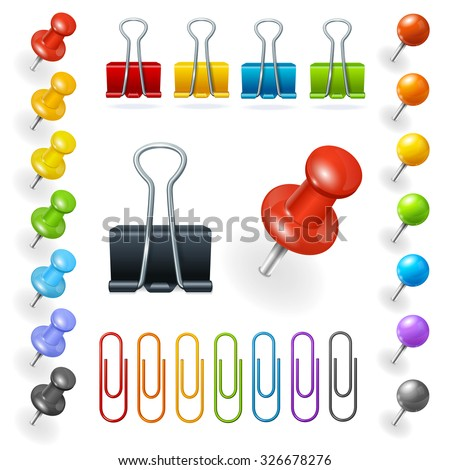 Pins and Paper Clips Collection. Vector illustration - stock vector