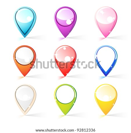 Pins for map - stock vector