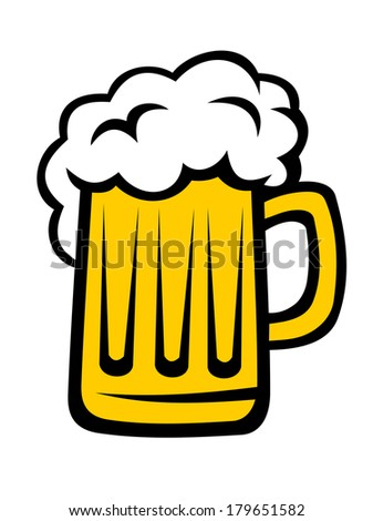 Pint of beer with a big head of froth in a glass tankard isolated on white - stock vector
