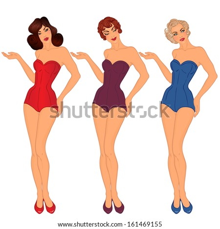 7247f5b567ae Pinup 3 Sexy Ladies Swimsuits Style Vectores En Stock 161469155 ...