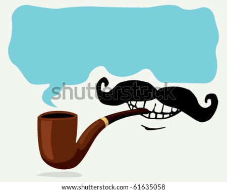 pipe and mustache. - stock vector