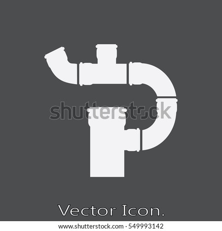 Pipe and tube icon isolated sign symbol and flat style for app, web and digital design. Vector illustration.