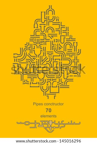 Pipe constructor - 70 elements for your design - stock vector