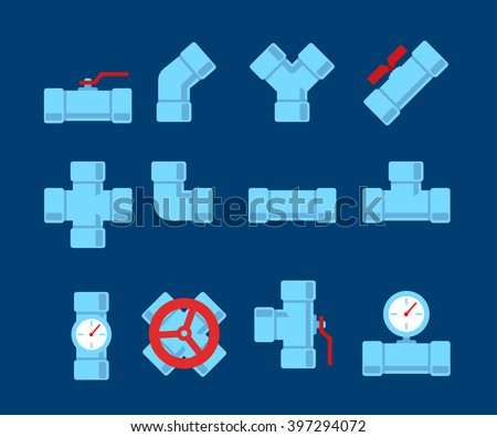Pipe fitting vector set. Pipeline vector illustration. Pipe fitting for repair home. Gas pipe. Water pipe set. Sewerage vector illustration. Water drain or drainage system - stock vector