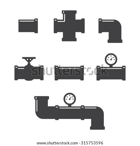 Pipe fittings vector icons set. Tube industry, construction pipeline, drain system - stock vector