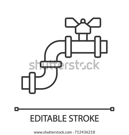 Pipe Valve Linear Icon Thin Line Stock Vector 712436218 Shutterstock