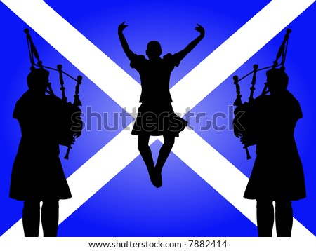 pipers and highland dancer jumping with Scottish flag Illustration - stock vector
