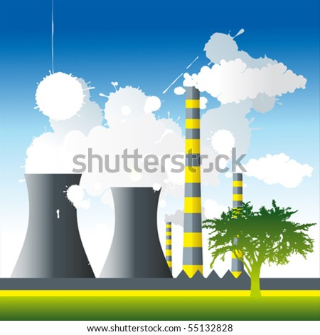 Pipes, factory and a lot of smoke in the air. - stock vector