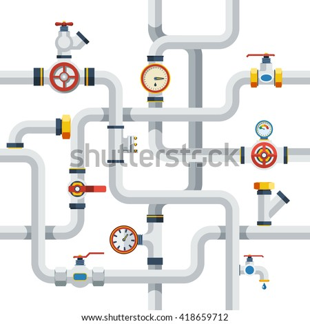 Pipes System Concept. Pipes Vector Illustration.Pipes Flat Symbols. Pipes Design Set. Pipes System Decorative Elements. - stock vector