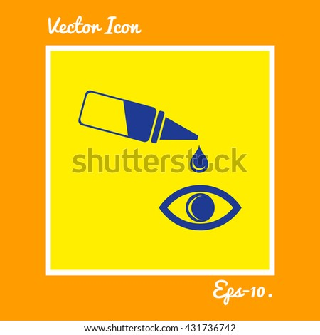 Pipette and eye Icon. Eps-10. - stock vector