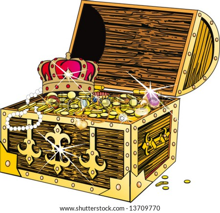 Piracy chest with gold and a crown - stock vector