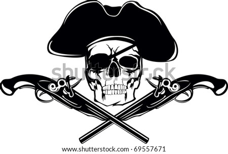 Piracy flag with  skull and crossed pistols - stock vector