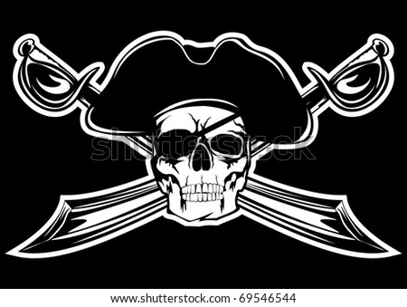 Piracy flag with  skull and  crossed sabres