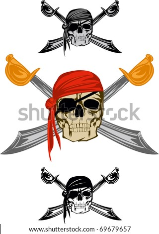 Piracy flag with  skull and  crossed sabres - stock vector