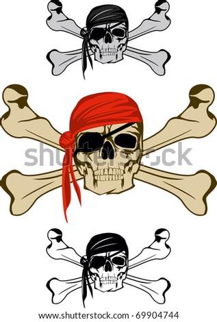Piracy skull and  crossbones - stock vector