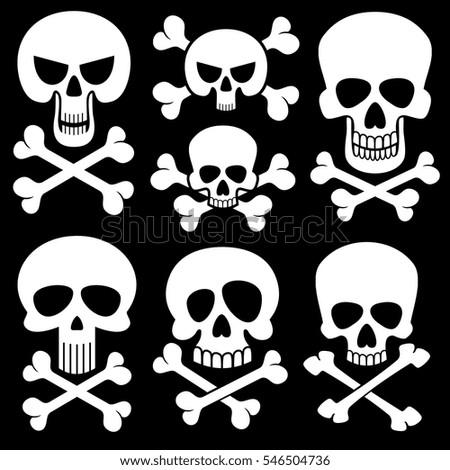 set skull bones black white background stock vector