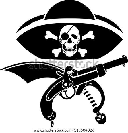 piracy symbol, hat with skull, gun and sabre second variant - stock vector