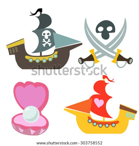 Piracy treasure vector icon set on white background. - stock vector