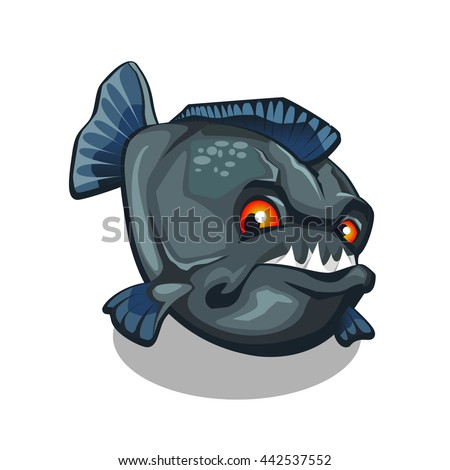 Piranha bares its sharp fangs. Cartoon fish isolated on a white background. Vector illustration.