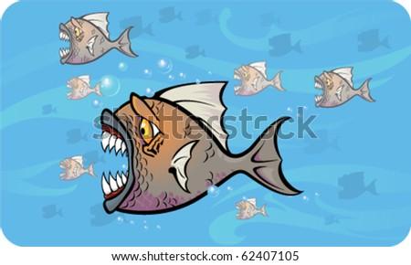 Piranhas attack - Vector illustration - stock vector