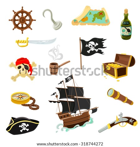 Pirate accessories flat icons collection with wooden treasure chest and black jolly roger flag abstract vector illustration - stock vector