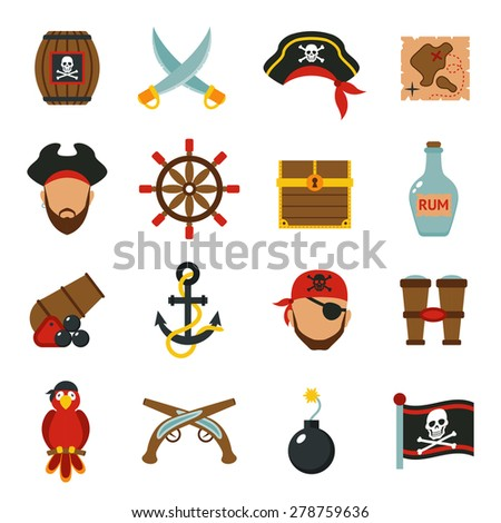 Pirate accessories symbols flat icons collection with wooden treasure chest and jolly roger flag abstract vector illustration - stock vector