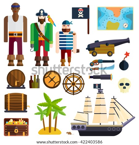 Pirate accessories symbols flat icons collection with wooden treasure chest and jolly roger flag abstract vector illustration. Pirate symbols anchor treasure set and pirate symbols parrot treasure map - stock vector